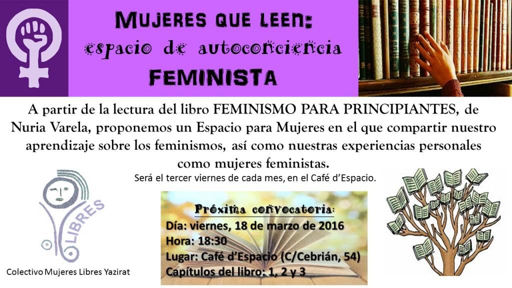 18 marzo 2016.- MUJERES QUE LEEN: espacio de autoconciencia feminista.